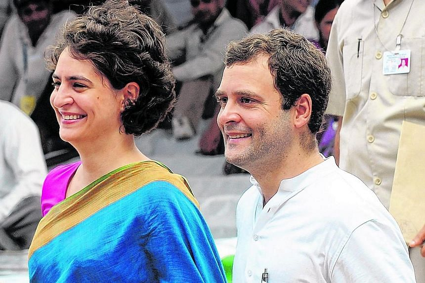 Mr Rahul Gandhi (right, with his sisterPriyanka Gandhi Vadra in this file picture from 2012) on Sunday, March 16, 2014, forecast a bigger win for India's ruling Congress party in next month's elections than it secured last time, rejecting comme