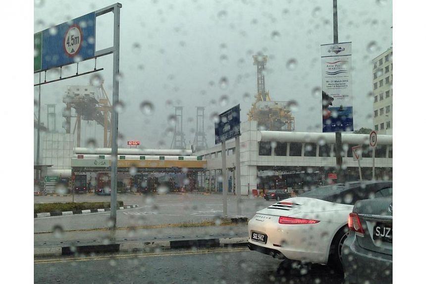 Rain in PSA. -- PHOTO: SARINA LIM