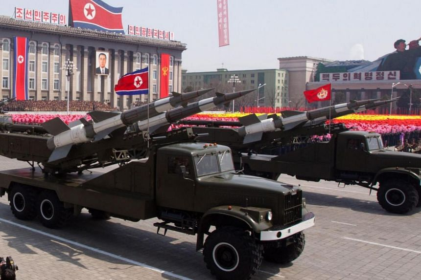 SA-3 ground-to-air missiles being displayed during a military parade in honour of the 100th birthday of the late North Korean leader Kim Il-Sung in Pyongyang on April 15, 2012. South Korea called on North Korea on Monday to stop what it called