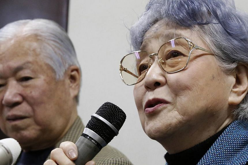 Ms Sakie Yokota (right), mother of Ms Megumi Yokota who was abducted by North Korea agents at age 13 in 1977, answers questions from the media with her husband Shigeru during a news conference in Kawasaki, west of Tokyo, March 17, 2014.The agei