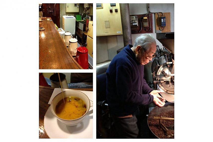 """This composite photo ofCafe de l'Ambre in Ginza, Tokyo, is one of the pins at our """"Curated by Tan Hsueh Yun"""" Pinterest board. The cafe is run by Mr Ichiro Sekiguchi, who is more than a century old. Ms Tan had the """"weirdest"""" coffee here. It had"""