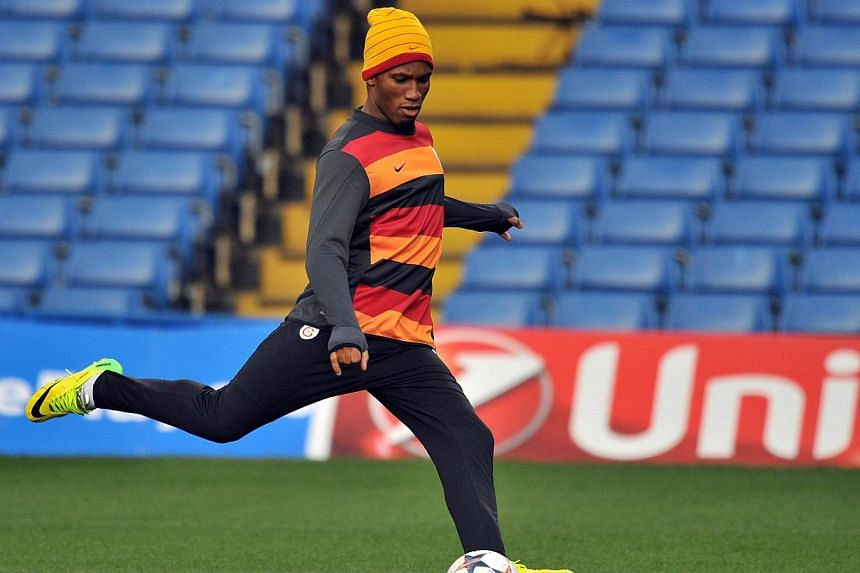 Galatasaray's Ivorian striker Didier Drogba at a training session in London on March 17, 2014, ahead of the Champions League match against Chelsea at Stamford Bridge. Didier Drogba admits he is unlikely to celebrate if he scores on his emotional retu