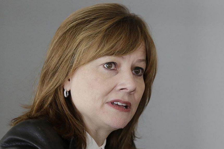 General Motors Co's new chief executive Mary Barra addresses the media in Detroit, Michigan on Jan 23, 2014 -- FILE PHOTO: REUTERS