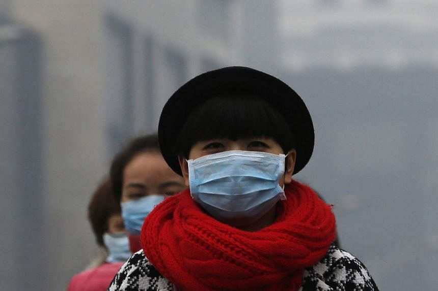 Women wearing masks make their way amid the heavy haze in Beijing on Feb 23, 2014. -- FILE PHOTO: REUTERS