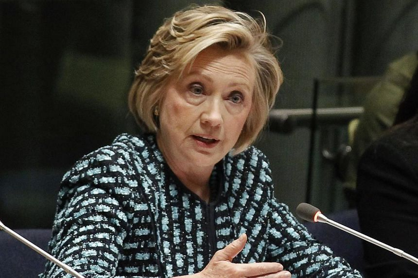 Former United States secretary of state Hillary Clinton on March 18, 2014, accused Russian President Vladimir Putin of attempting to rewrite the boundaries of post-World War II Europe. -- PHOTO: REUTERS