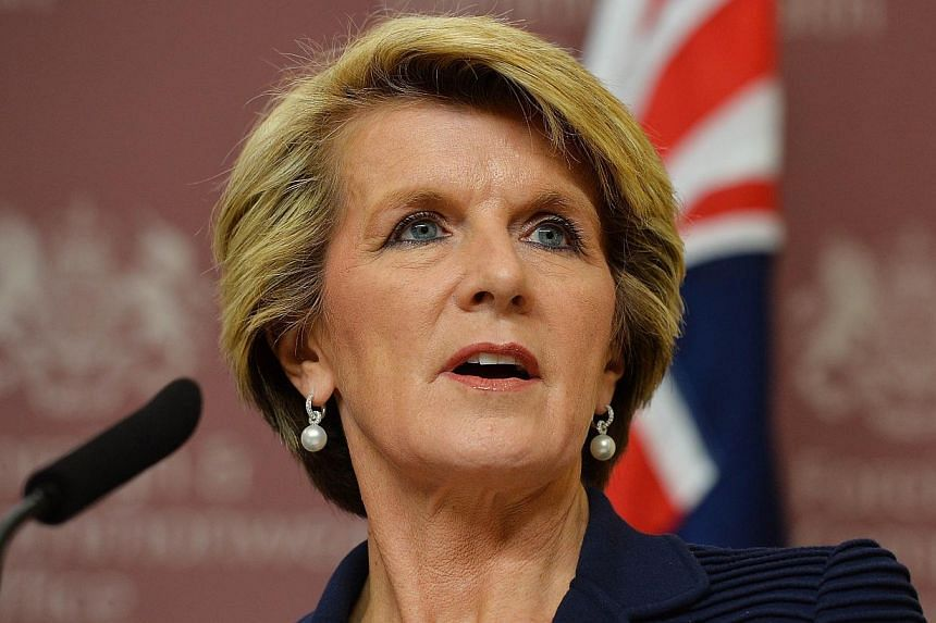 Australian Foreign Minister Julie Bishop speaks during a press conference at the Foreign and Commonwealth Office in central London on March 11, 2014. Australia on March 19, 2014, said it will impose targeted financial sanctions and travel bans agains