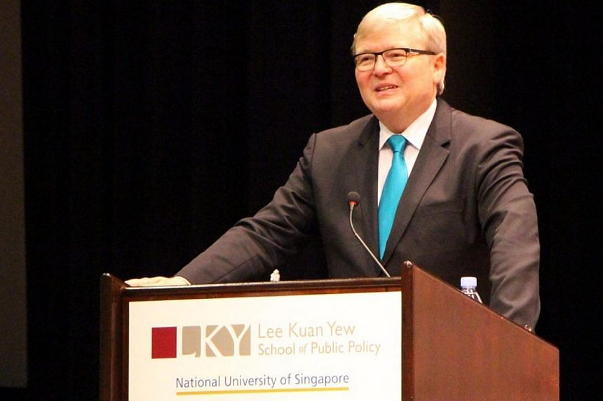 Former prime minister of Australia Kevin Rudd, who was in town on March 18 to give a public lecture on China's future under Xi Jinping's leadership, at the Lee Kuan Yew School of Public Policy. -- PHOTO: Lee Kuan Yew School of Public Policy