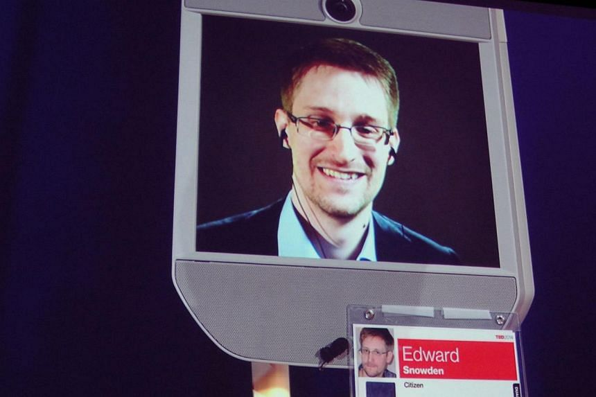 Former National Security Agency contractor Edward Snowden appears by remote-controlled robot at a Technology Entertainment Design conference in Vancouver on March 18, 2014.
