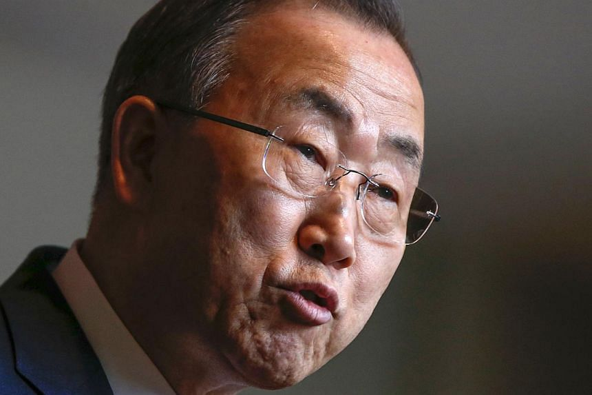 United Nations Secretary-General Ban Ki-moon talks to the media after a briefing on Syria at U.N. headquarters in New York on March 14, 2014. Ban is heading to Russia and the Ukraine to encourage a peaceful settlement of the crisis threatening c