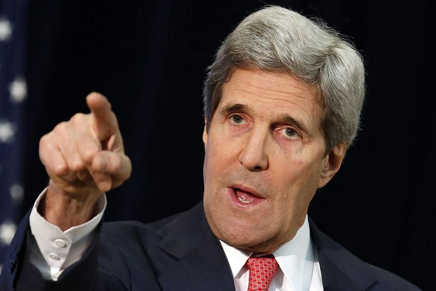 United States Secretary of State John Kerry speaks about Ukraine during a town hall at the State Department in Washington on March 18, 2014. -- PHOTO: REUTERS