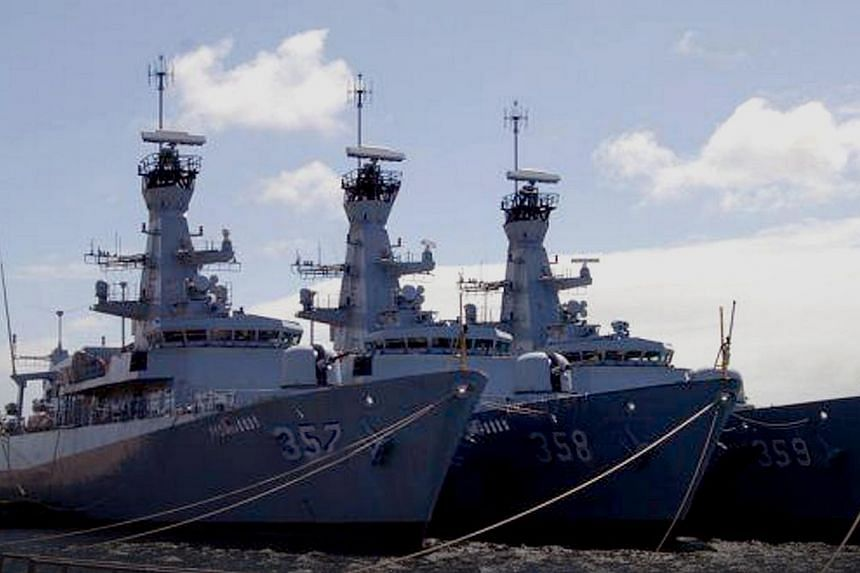 The Indonesian Navy's three newest frigates, which are now being fitted at a yard in Britain. (From right) KRI Usman Harun 359, KRI John Lie 358 and KRI Bung Tomo 357. -- PHOTO: INDONESIAN NAVY