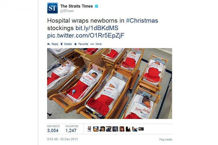 The Straits Times' (ST) Twitter account (@STcom) is the most followed account by Singapore users. Pictured is one of ST's eight most popular tweets. -- PHOTO: SCREEN CAPTURE FROM TWITTER