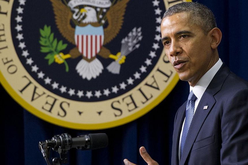 United States President Barack Obama ruled out US military involvement in Ukraine on Wednesday, emphasising diplomacy in the standoff with Russia over Crimea. -- PHOTO: AFP
