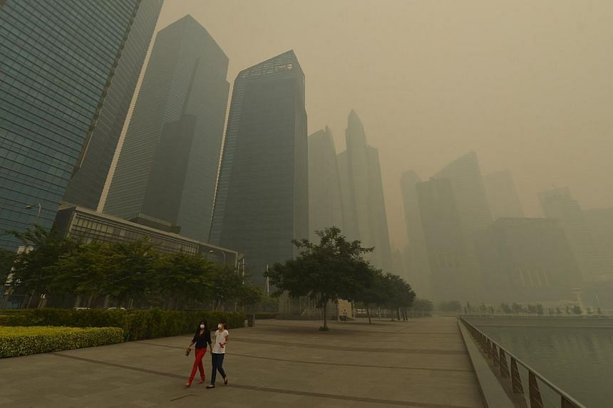 Two ladies walk alongside the Marina Bay on a hazy day at 1.20pm on June 21, 2013. If you thought last June's record haze was bad, be prepared for it to get even worse this year. -- ST FILE PHOTO: ALPHONSUS CHERN