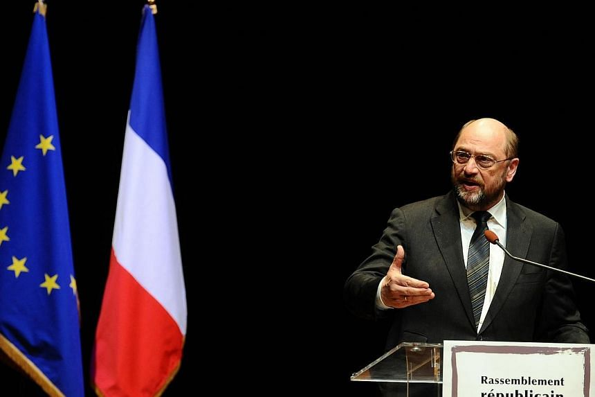 President of the European Parliament Martin Schulz gives a speech during a commemoration ceremony for the victims organized by the Council of French Jewish Institutions on March 19, 2014 in Toulouse. EU member states and European Parliament nego