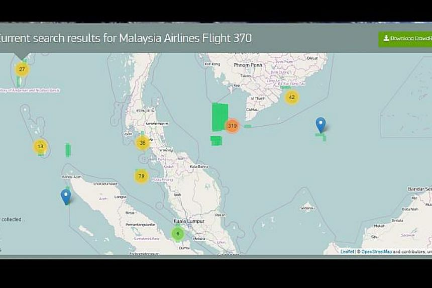 Twelve days after Malaysia Airlines MH370 disappeared, the hunt for the plane has expanded to encompass 25 nations and 2.24 million nautical square miles. -- SCREEN CAPTURE FROM TOMNOD WEBSITE