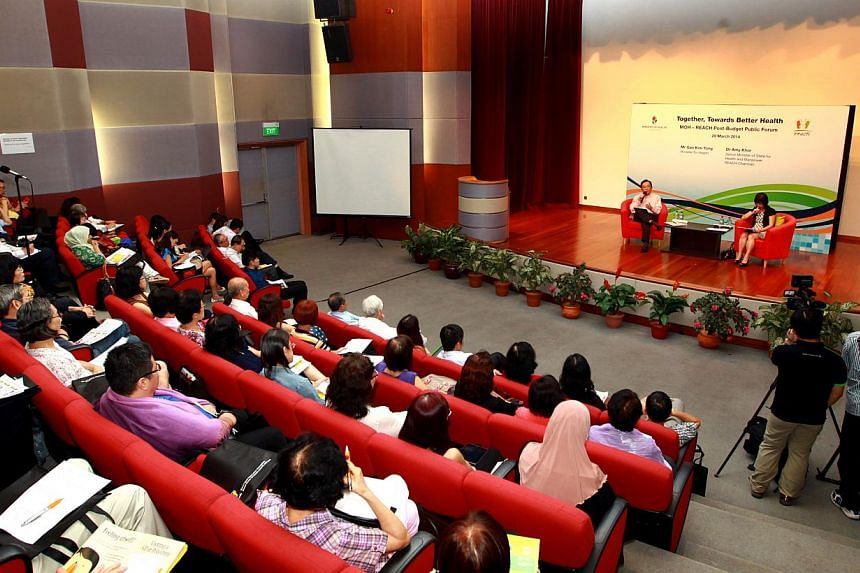 """Speaking at the session at the Health Promotion Board building, Mr Gan said the Healthcare 2020 Masterplan was """"not enough"""" and the goal was for all Singaporeans to stay healthy as long as possible."""