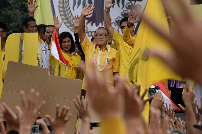 Indonesian Presidential aspirant Aburizal Bakri, who is the chairman of the Golkar Party, arriving at at a party rally in Depok on March 21, 2014. -- PHOTO: Raj Nadarajan