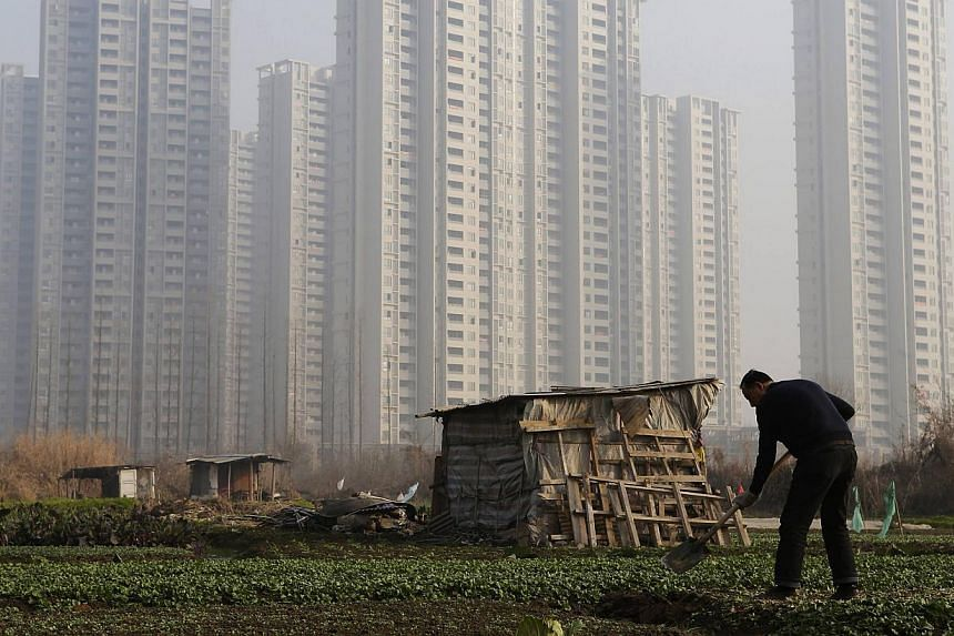A farmer shovels soil at a vegetable field near a new residential compound on the outskirts of Wuhan, Hubei province on Jan 19, 2014. A Chinese farmer was burned to death during a protest over local land seized for development, state-run media said o