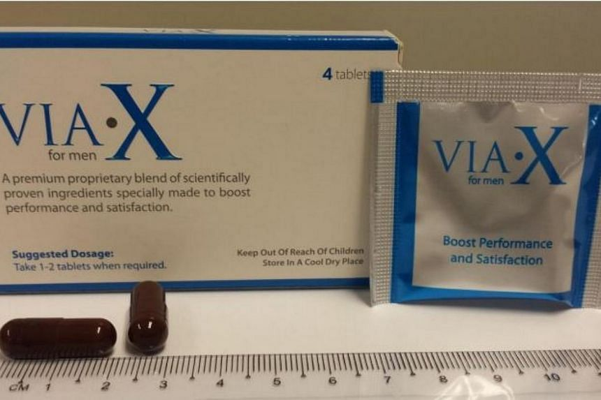 """The Health Sciences Authority issued a public advisory on Monday, March 24, 2014, to stop the consumption of libido booster """"VIA.X For Men"""". -- PHOTO:HEALTH SCIENCES AUTHORITY"""