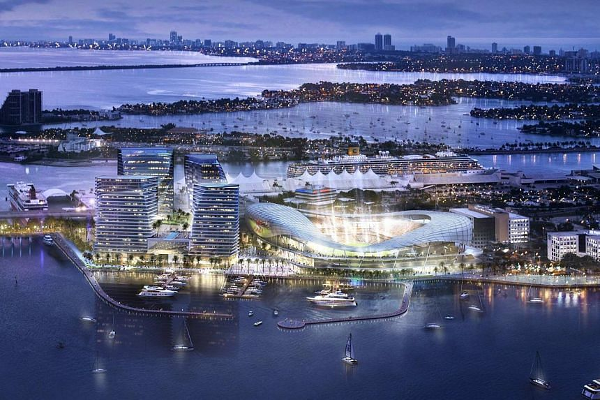 This image courtesy of Miami Beckham United released on March 24, 2014, shows an artist rendering of a proposed stadium for a Major League Soccer team backed by retired English soccer star David Beckham of the group's preferred location for the arena