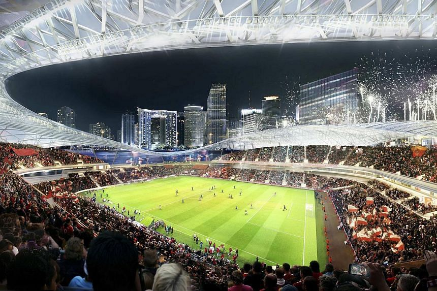 An artist's impression of a proposed stadium for a Major League Soccer team backed by retired English football star David Beckham. -- PHOTO: REUTERS