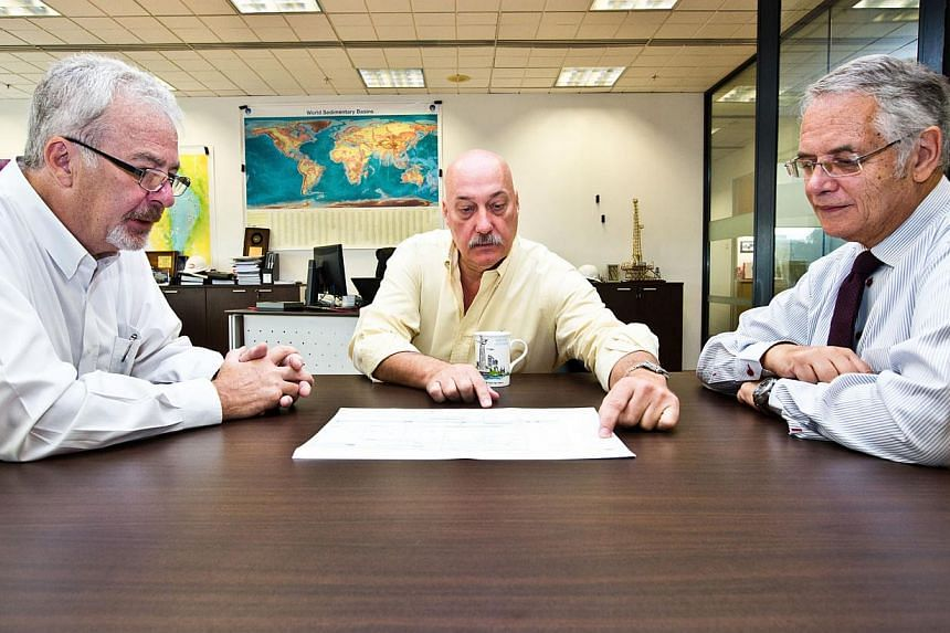 """(From right) KrisEnergy's chief executive Keith Cameron, seen here with director of business development Richard Lorentz and director of exploration and production Chris Gibson-Robinson, said: """"The facility is another step in the optimisation of our"""