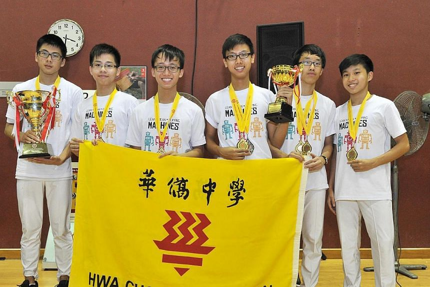 From left, Joshua Tan Yue Ming, 16, Goh Wei Shern, 16, Keefe Ng Wee Siong, 15, Riley Jeremiah Yap Jiun Ming, 16, David Yao Yifan, 15, and Ong Yinn Ray, 15, from Hwa Chong Institution, came in first position in the 'B' Division Boys (Team) of the Nati
