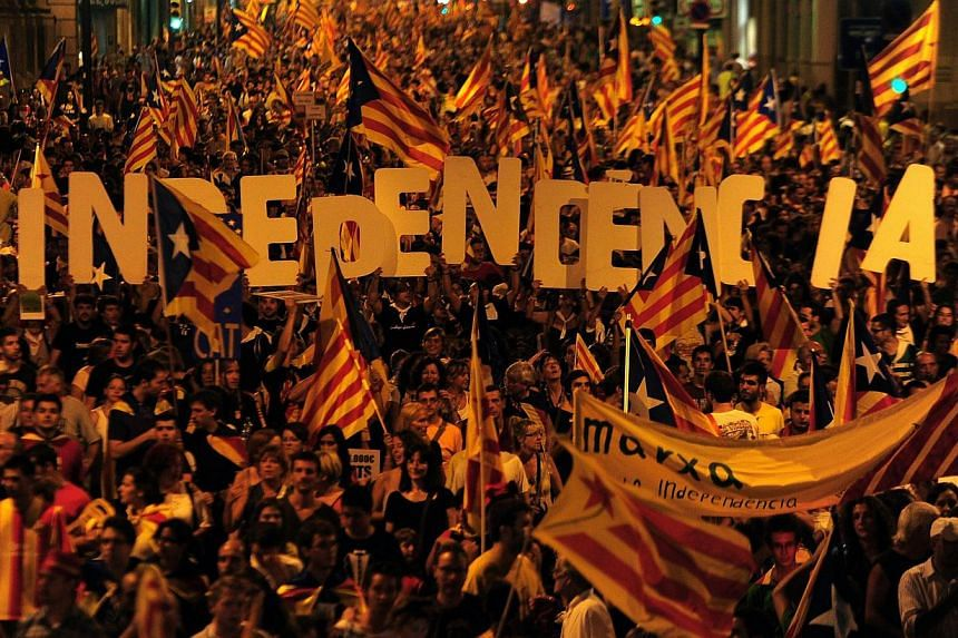Supporters of independence for Catalonia demonstrating in Barcelona in September 2012. -- FILE PHOTO: AFP