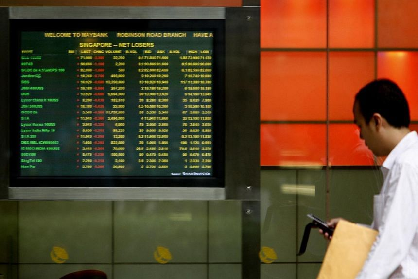 Singapore stock market rebounded to hit a two-week high, tracking regional markets that gained on upbeat Us consumer confidence data and lingering hopes of China's stimulus.-- ST FILE PHOTO: BRYAN VAN DER BEEK