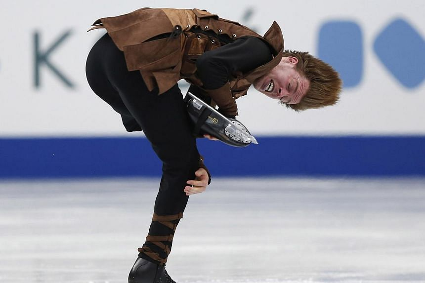 Switzerland's Stephane Walker competes during the men's short programme at the ISU World Figure Skating Championships in Saitama, north of Tokyo March 26, 2014. -- PHOTO: REUTERS