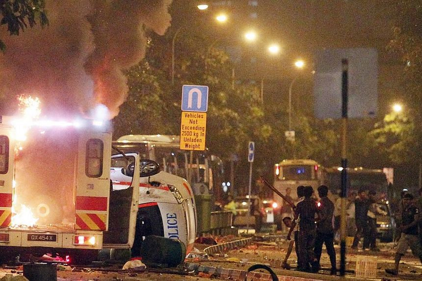 This ambulance was one of several vehicles which were set on fire during a riot that broke out along Race Course Road in Little India riot on Dec 8, 2013. While the Little India riot was caused by a confluence of factors, alcohol played a major role