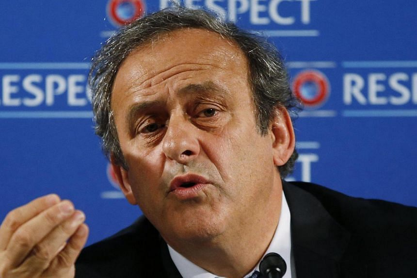 Uefa president Michel Platini speaks during a press conference on the eve of the qualifying draw of the 2016 European Football Championship on February 22, 2014 in Nice, southeatern France.Uefa president Michel Platini told Reuters on Thursday,