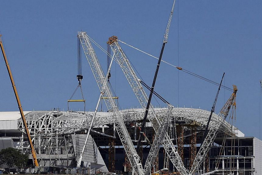 A general view of the Arena de Sao Paulo Stadium, one of the venues for the 2014 World Cup, in the Sao Paulo district of Itaquera on March 15, 2014. Sao Paulo's Corinthians Arena stadium will host the opening match of Brazil's World Cup as planned af