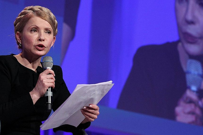 Yulia Tymoshenko, leader of Ukraine's Batkivshchyna Party, addressing the media during a press conference at the European People's Party (EPP) Congress at the Dublin Convention Centre in Dublin. Tymoshenko, urged Western powers on March 16, 2014 to u