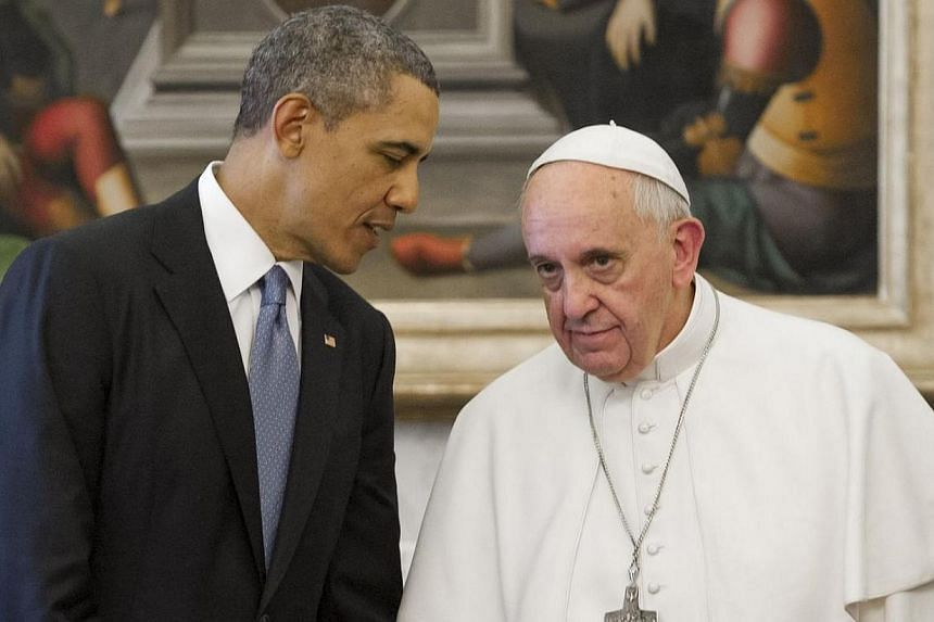 US President Barack Obama and Pope Francis on Thursday, March 27, 2014, agreed on a common commitment to eradicate human trafficking during a historic first meeting and discussed immigration reform, the Vatican said. -- PHOTO: AFP
