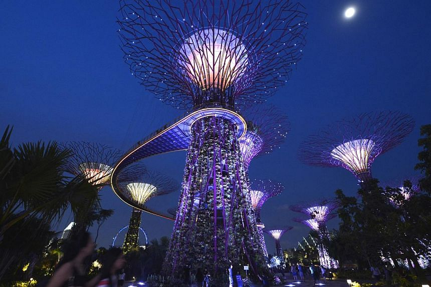 The Supertrees at Gardens by the Bay going dark for Earth Hour last year. The annual event to raise environmental awareness was celebrated by about 345 million people in more than 154 countries and 7,000 cities last year. -- ST FILE PHOTOS