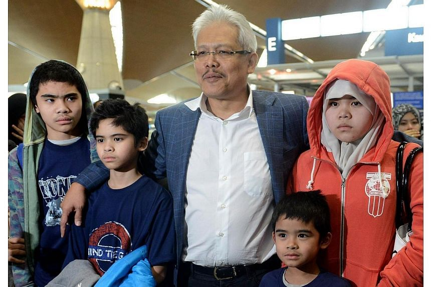 Children of Malaysian Muslim couple Azizul Raheem Awalludin and his wife Shalwati Nurshal (both not pictured), who were detained by Swedish authorities over allegations of child abuse of Ammar, 12, (left), Adam, 11, (second left), Arif, 7, (second ri