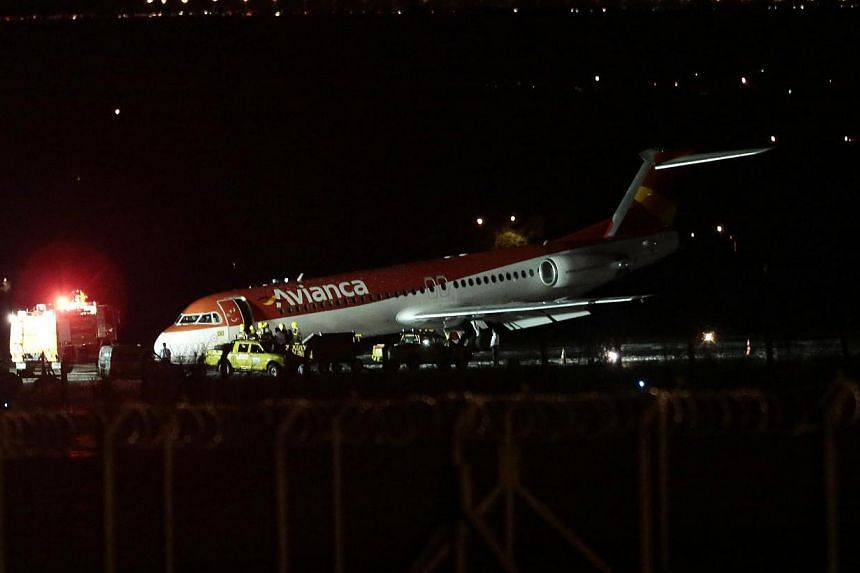 Avianca Airlines flight AV6393 after its emergency landing at the Juscelino Kubitschek international airport in Brasilia on March 28, 2014. -- PHOTO: REUTERS