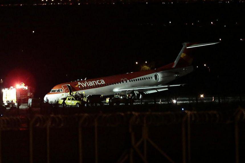 Avianca Airlines flight AV6393 after its emergency landing at the Juscelino Kubitschek international airport in Brasilia on March 28, 2014. -- PHOTO: REUTERS