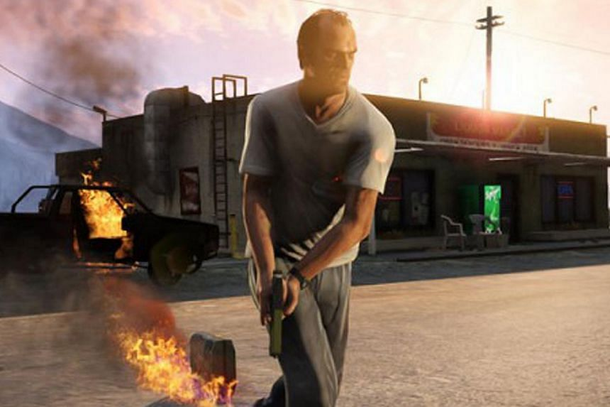 A screenshot of video game Grand Theft Auto V. Playing violent video games, such as those depicting decapitation, could lead young people here to think and act more aggressively, said a study published on Monday.-- FILE PHOTO: ROCKSTAR GAMES/SC