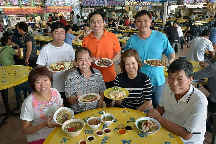 The Longhouse gang: (standing from left) Mr David Foo of Best Western Pasta & Grill; Mr Ong Tze Ghee of Te Wei Popiah & Rojak; Mr Kee Chon Leong of Long House Hawker Delights; (seated, from left) Madam Lee Soo Lian of Lucy Pang Yong Tau Foo;