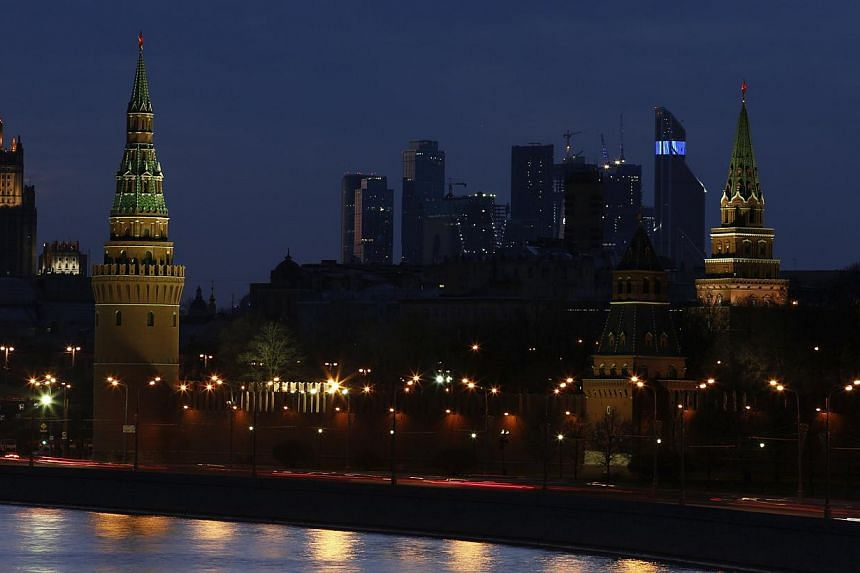 The Kremlin is pictured before Earth Hour in Moscow on March 29, 2014. -- PHOTO: REUTERS