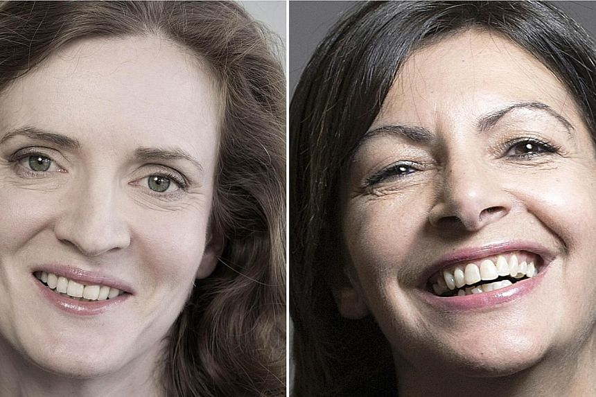 A combination of pictures made on March 28, 2014 in Paris shows French right-wing UMP party candidate for the Paris 2014 mayoral elections Nathalie Kosciusko-Morizet (left) posing on February 17, 2014 in Paris and Socialist Party (PS) candidate for t