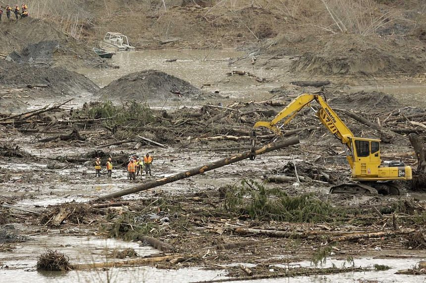 An excavator moves a tree trunk as search work continues on March 30, 2014, in the mud and debris from a massive mudslide that struck Oso, Washington. -- PHOTO: REUTERS