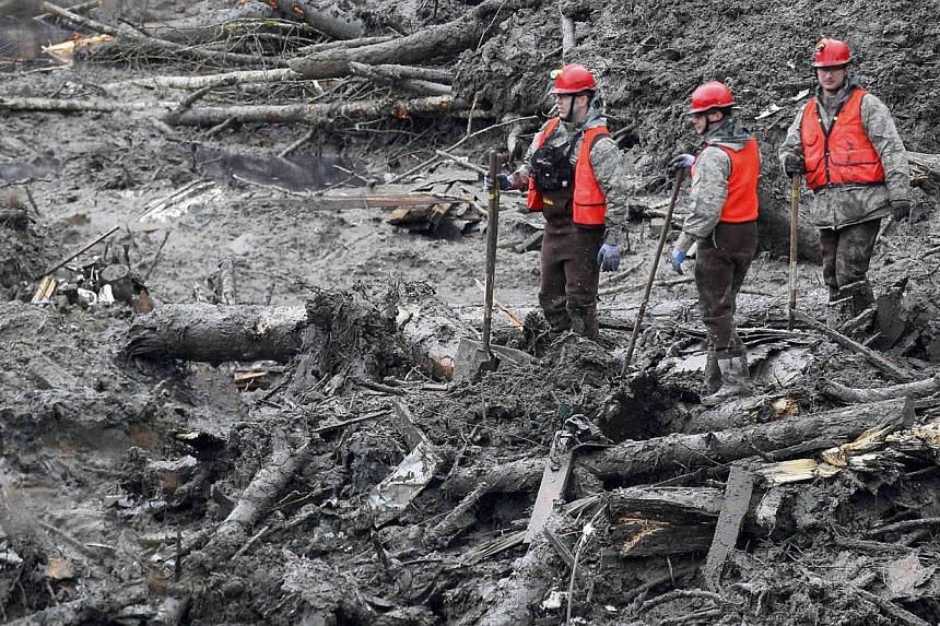 Rescue workers search for victims of the mudslide in Oso, Washington, on March 30, 2014. -- PHOTO: AFP