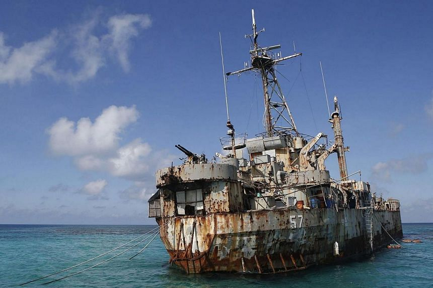 The BRP Sierra Madre, a marooned transport ship which Philippine Marines live on as a military outpost, is pictured in the disputed Second Thomas Shoal, part of the Spratly Islands in the South China Sea on March 30, 2014.China accused the Phil