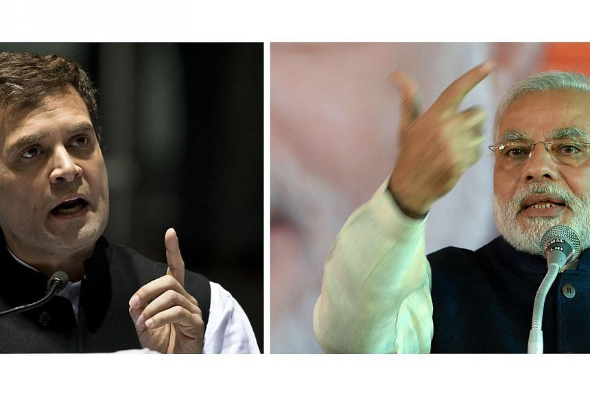 India's Congress Party Vice-President Rahul Gandhi (left) gestures as he delivers a speech during the All India Congress Committee (AICC) meeting in New Delhi on Jan 17, 2014, and Bharatiya Janata Party (BJP) prime ministerial candidate and Chief Min