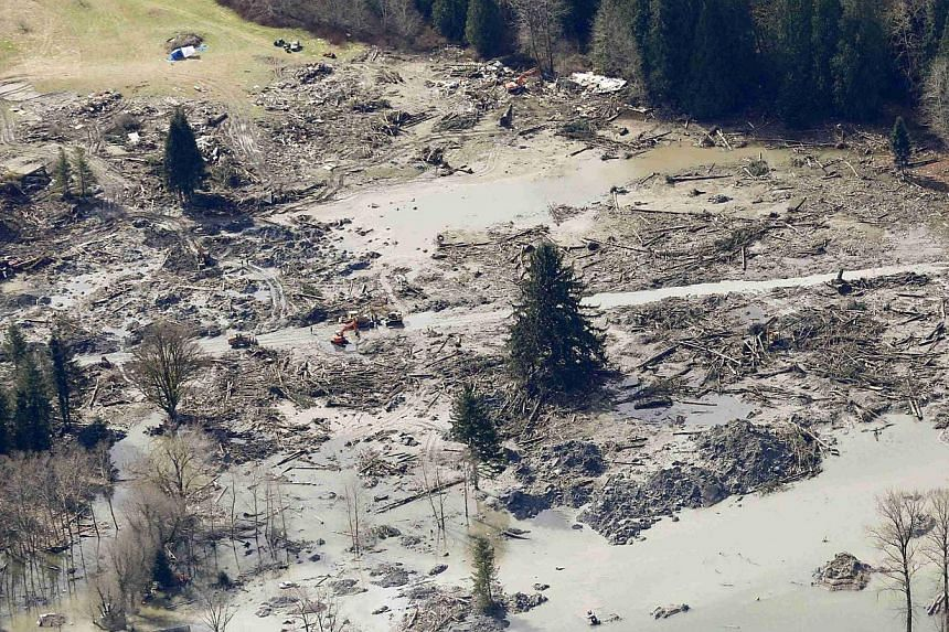 Workers dig with heavy equipment at the point where the massive mudslide that destroyed Oso in Washington stopped on March 31, 2014. -- PHOTO: REUTERS