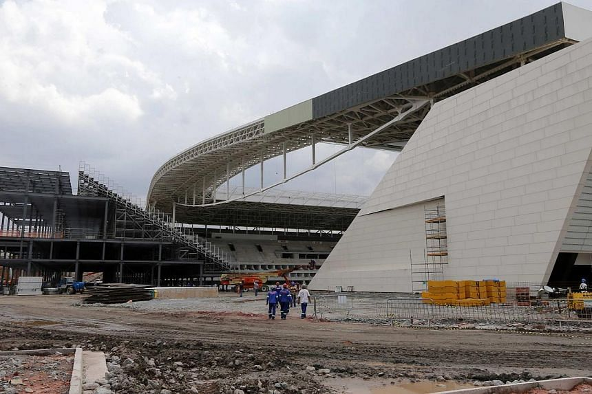 The construction site of the Arena de Sao Paulo Stadium, one of the venues for the 2014 World Cup, in the Sao Paulo district of Itaquera on April 1, 2014. -- PHOTO: REUTERS